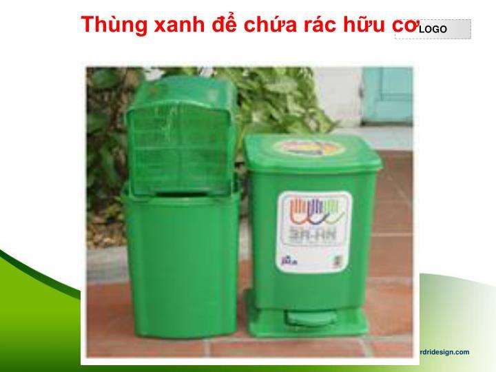 Thùng xanh để chứa rác hữu cơ