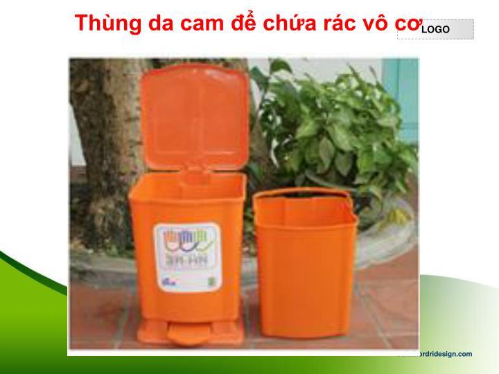 Thùng da cam để chứa rác vô cơ