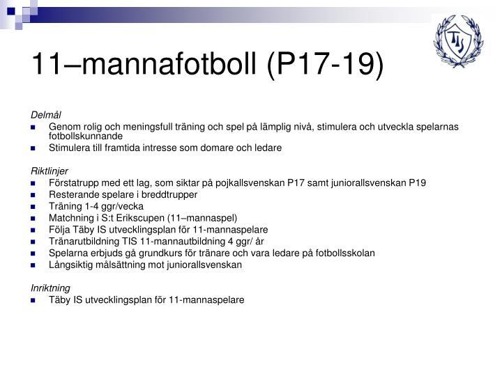11–mannafotboll (P17-19)