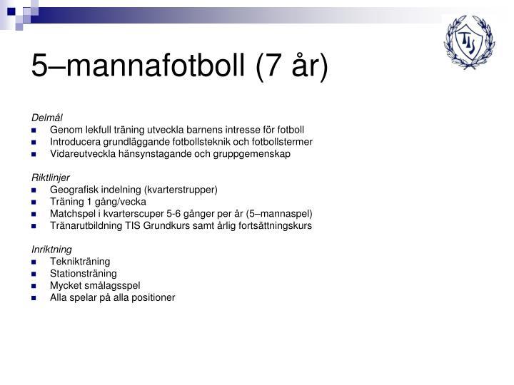 5–mannafotboll (7 år)