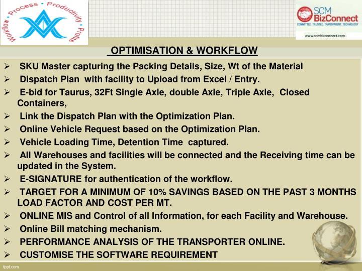 Optimisation workflow