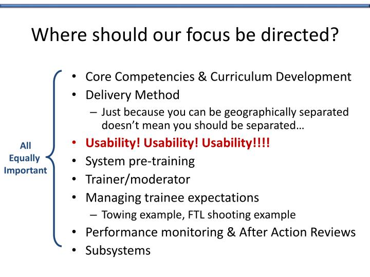 Where should our focus be directed?