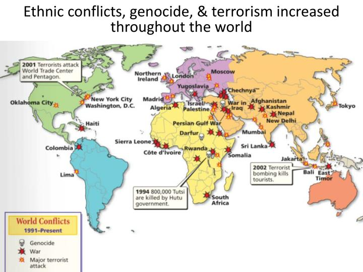 Ethnic conflicts, genocide, & terrorism increased throughout the world