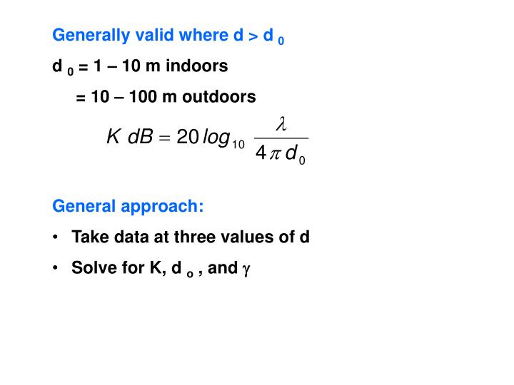 Generally valid where d > d