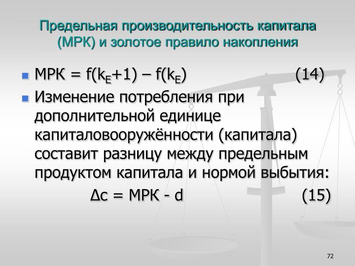 Предельная производительность капитала (МРК) и золотое правило накопления
