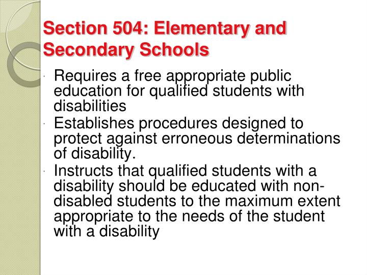 Section 504: Elementary and Secondary Schools