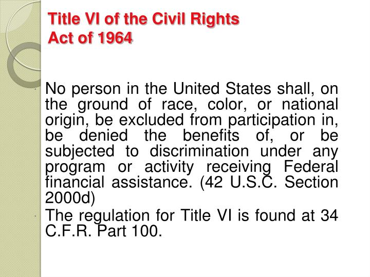 Title vi of the civil rights act of 1964