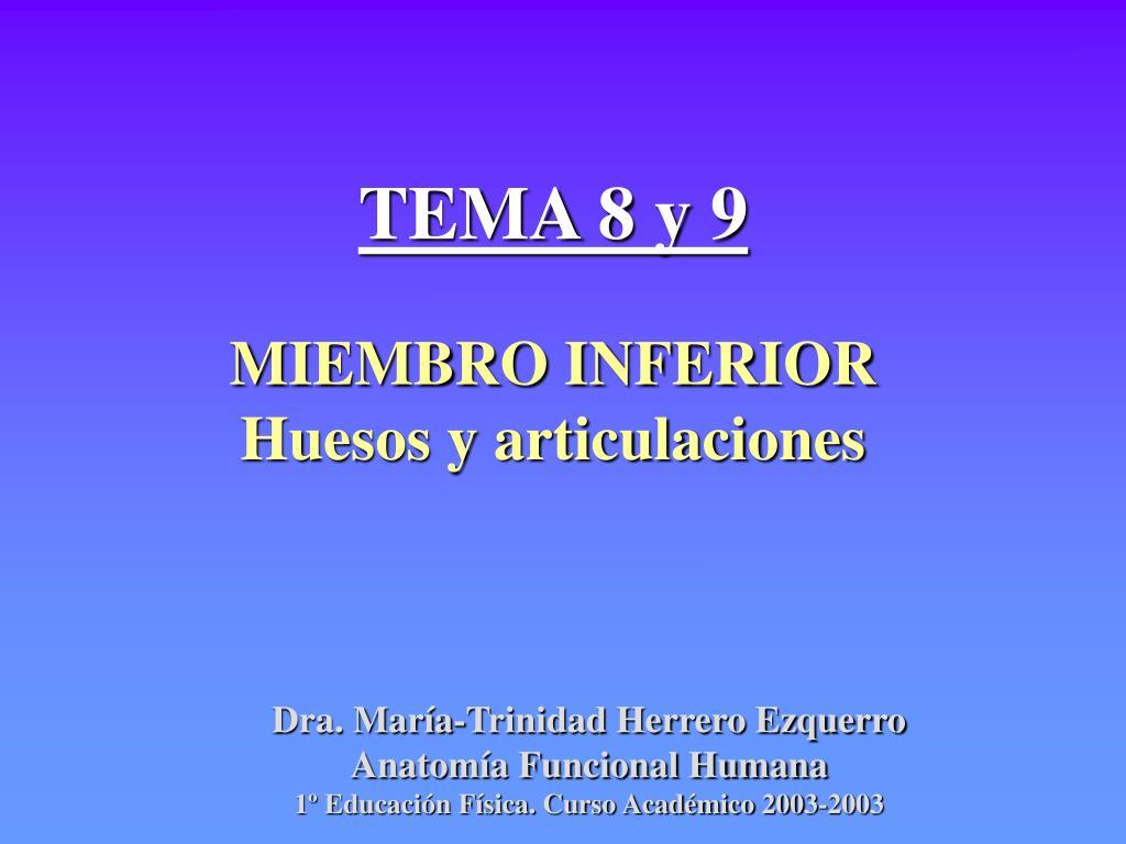 PPT - TEMA 8 y 9 MIEMBRO INFERIOR Huesos y articulaciones PowerPoint ...