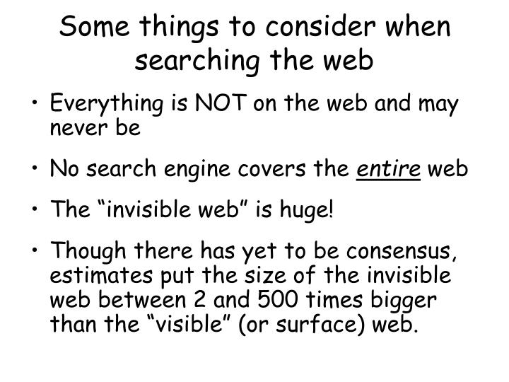 Some things to consider when searching the web