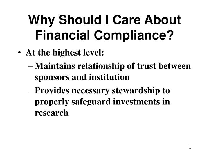 why should i care about financial compliance n.