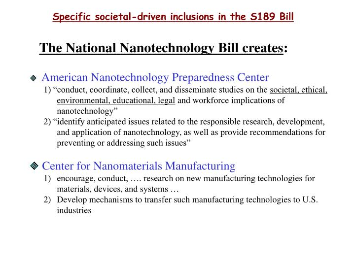 Specific societal-driven inclusions in the S189 Bill