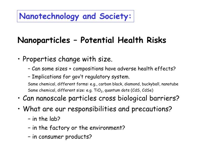 Nanotechnology and Society:
