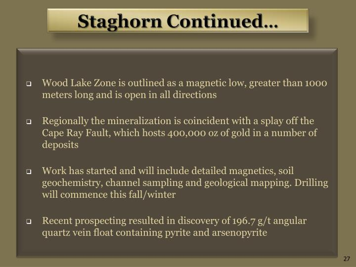 Wood Lake Zone is outlined as a magnetic low, greater than 1000 meters long and is open in all directions