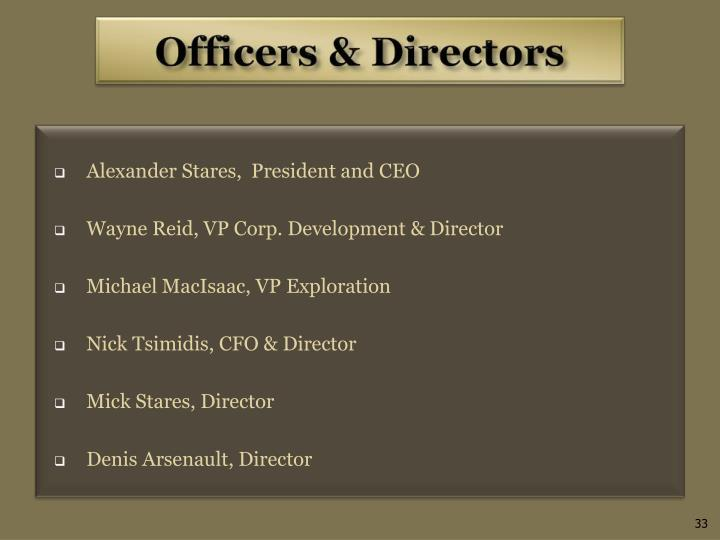 Alexander Stares,  President and CEO