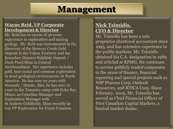 Wayne Reid, VP Corporate Development & Director