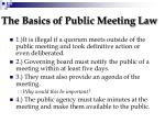 the basics of public meeting law