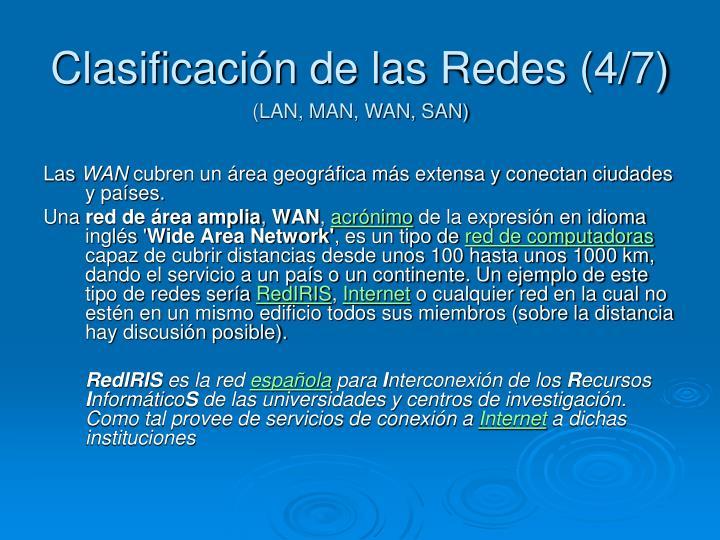 Clasificación de las Redes (4/7)