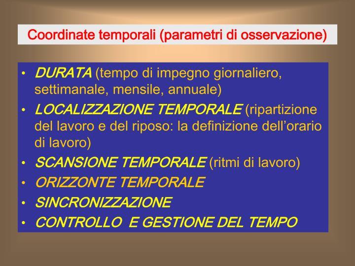 Coordinate temporali parametri di osservazione