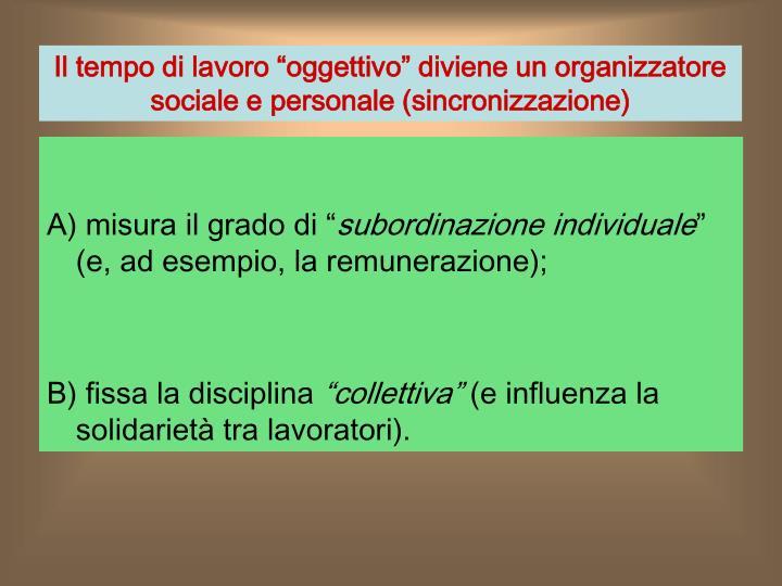 """Il tempo di lavoro """"oggettivo"""" diviene un organizzatore sociale e personale (sincronizzazione)"""