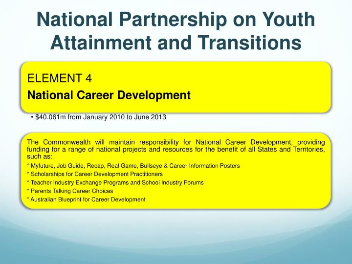 Ppt national partnership on youth attainment and transitions national partnership on youth attainment and transitions malvernweather Gallery