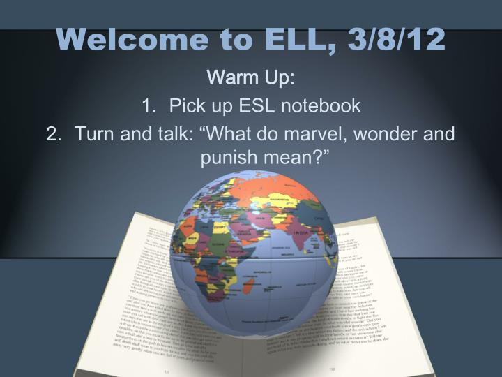 welcome to ell 3 8 12 n.