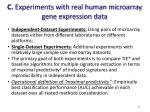 c experiments with real human microarray gene expression data