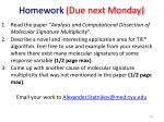 homework due next monday