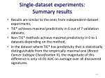 single dataset experiments summary results
