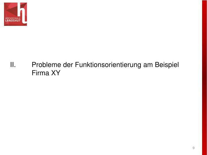 II.Probleme der Funktionsorientierung am Beispiel Firma XY