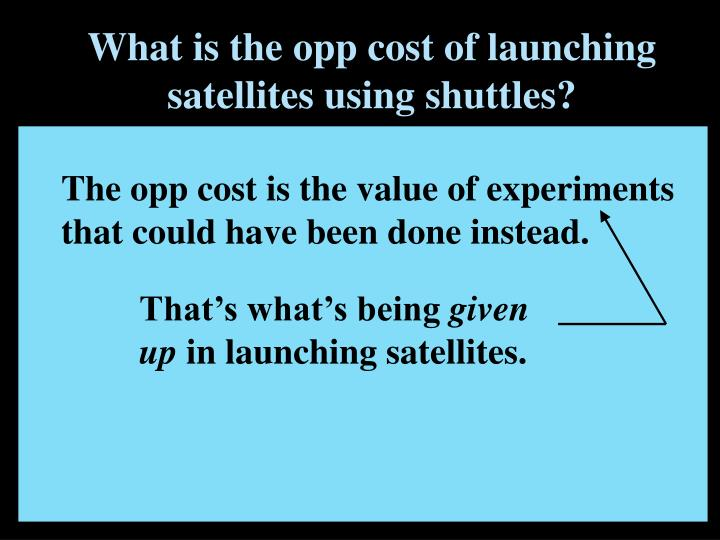 What is the opp cost of launching satellites using shuttles?