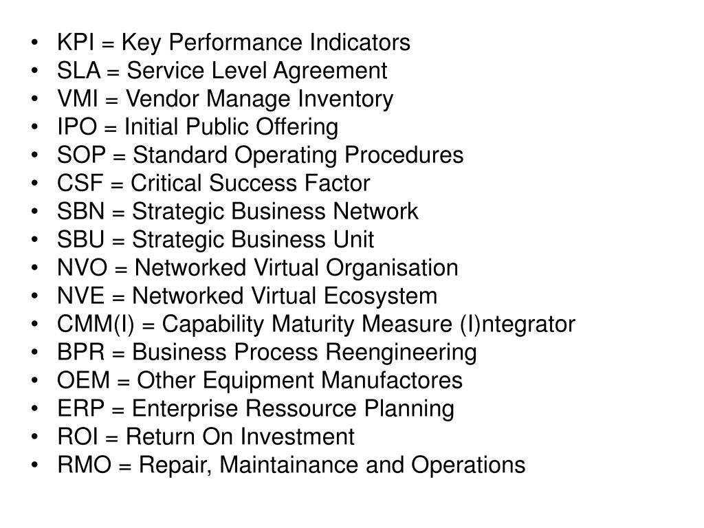Ppt Kpi Key Performance Indicators Sla Service Level Agreement