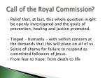 call of the royal commission