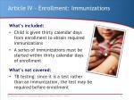 article iv enrollment immunizations