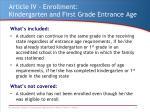 article iv enrollment kindergarten and first grade entrance age