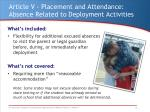 article v placement and attendance absence related to deployment activities