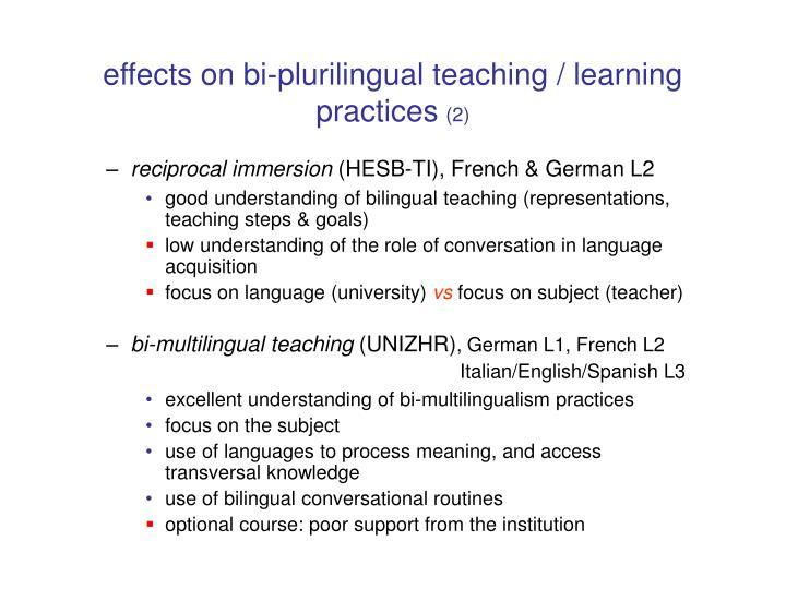 effects on bi-plurilingual teaching / learning
