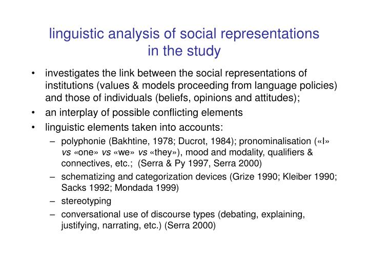Linguistic analysis of social representations in the study