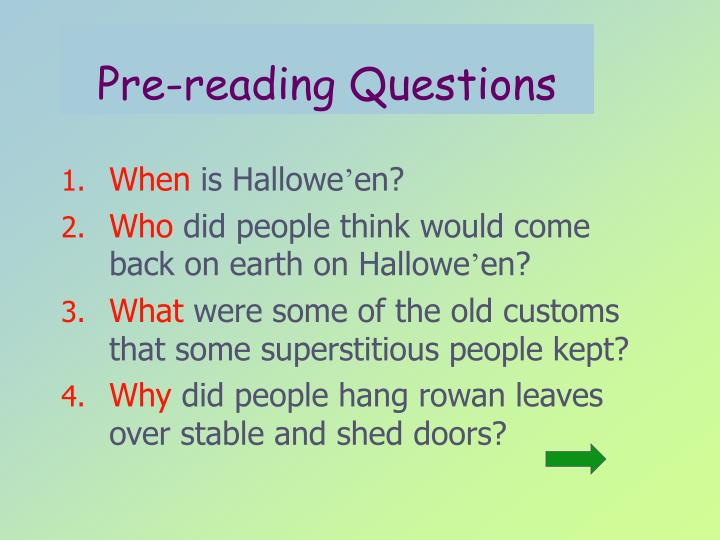 Pre reading questions