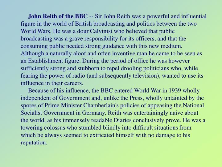 John Reith of the BBC