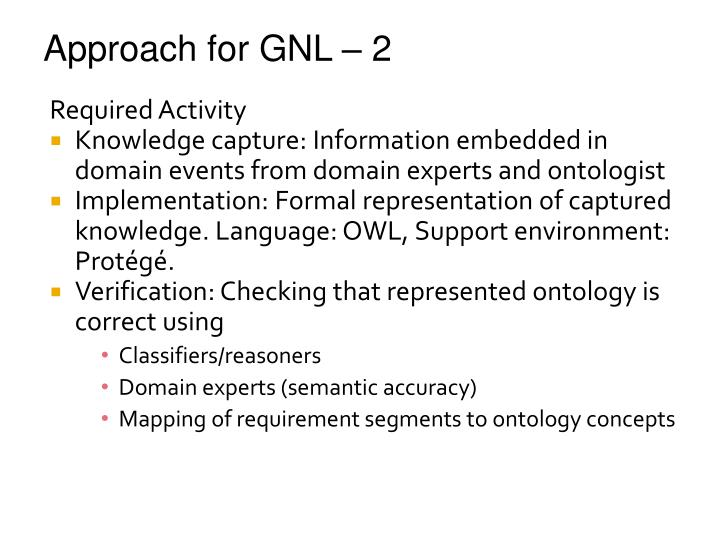 Approach for GNL – 2