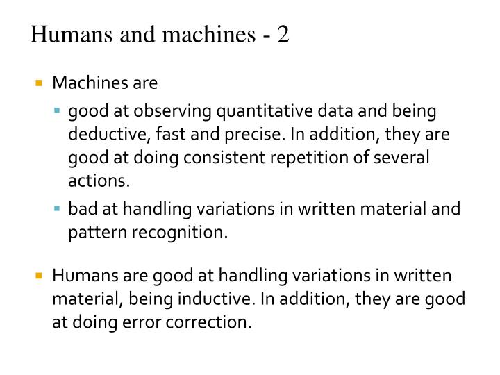 Humans and machines - 2