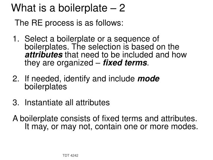 What is a boilerplate – 2