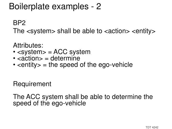 Boilerplate examples - 2