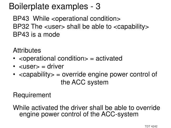 Boilerplate examples - 3