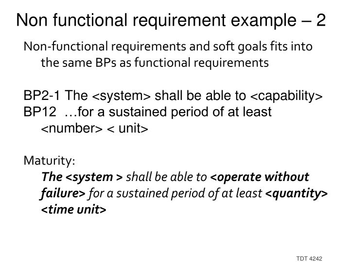 Non functional requirement example – 2
