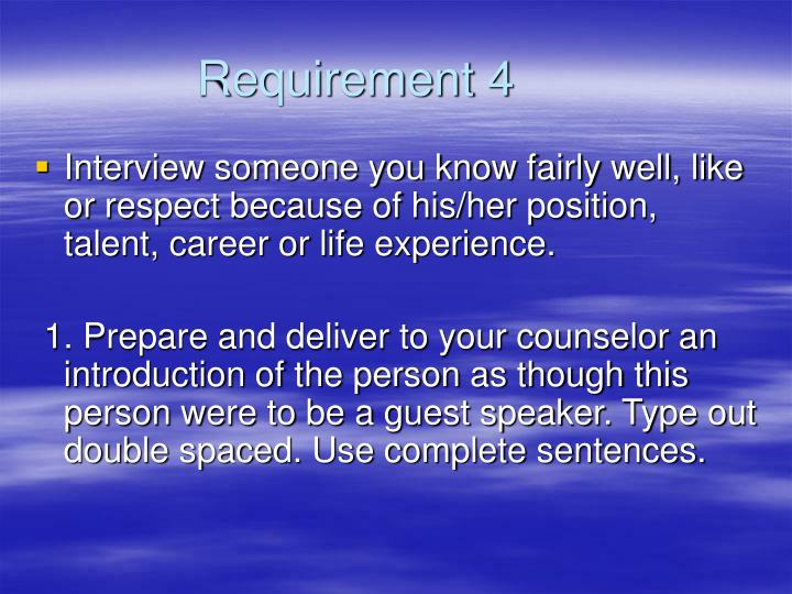 Requirement 4