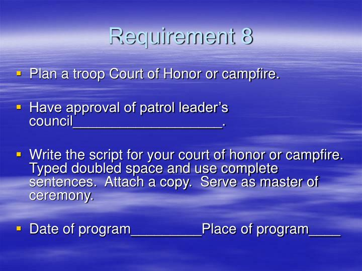 Requirement 8