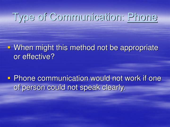 Type of communication phone
