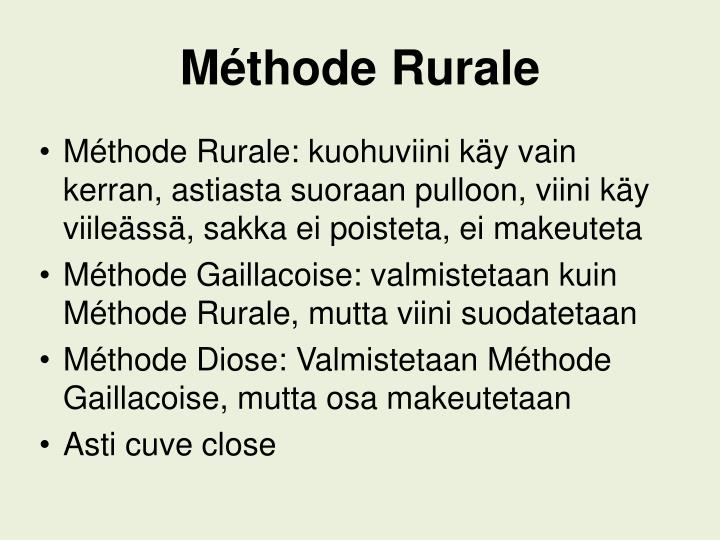 Méthode Rurale