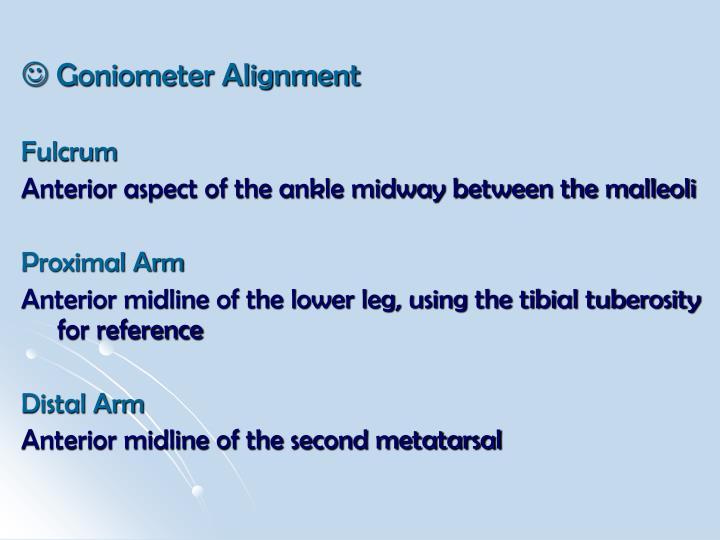  Goniometer Alignment